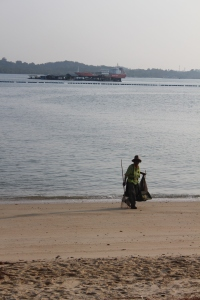Cleaning the beach, Pasir Ris