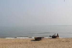 Traditional coracles on An Bang Beach