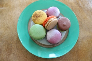 Macarons on plate