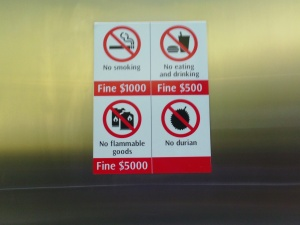 No durians allowed, Singapore