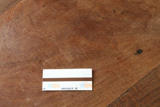 Metro ticket - insert with stripe side up