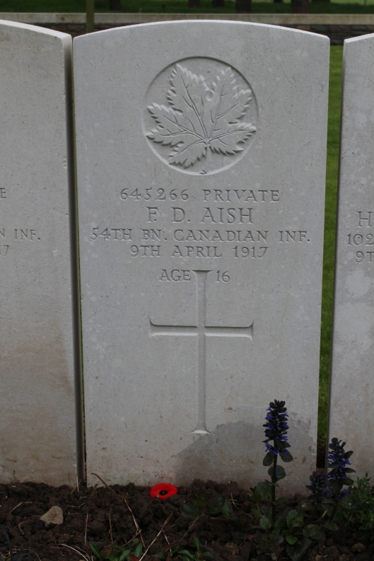 Tomb of a 16 year old soldier, Vimy
