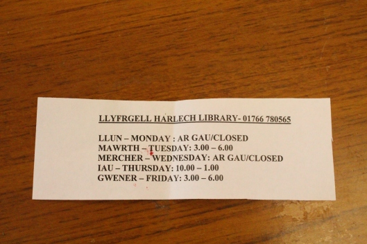 Harlech library hours