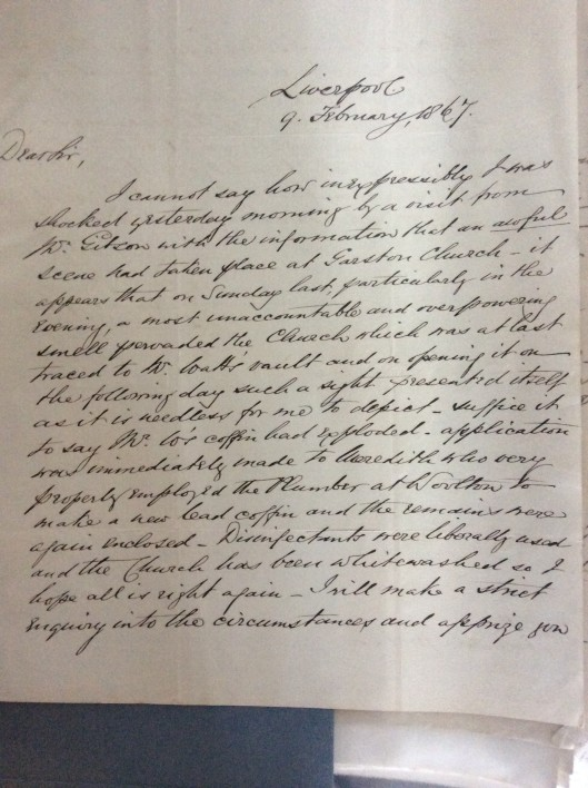 Letter from Speke Hall archives