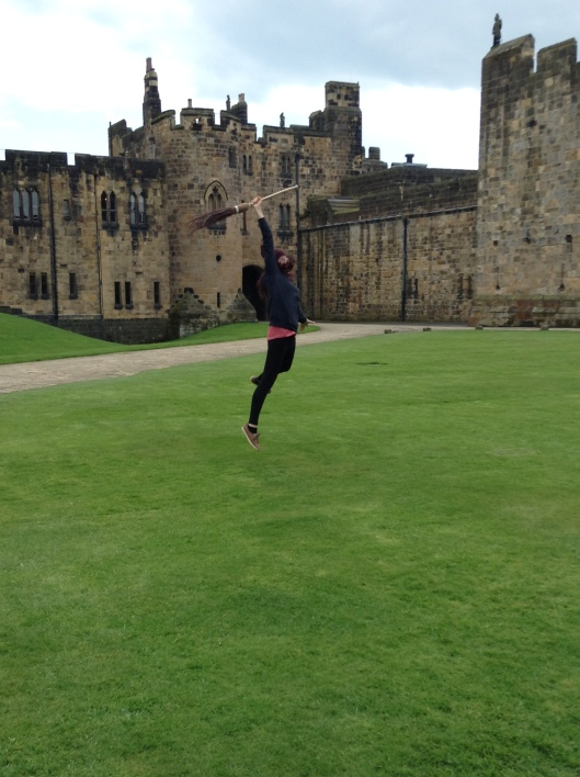 Firstborn gets broomstick lessons at Alnwick Castle aka Hogwarts