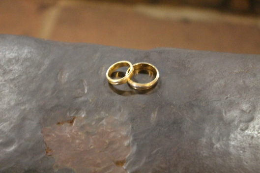 Our wedding rings on the anvil