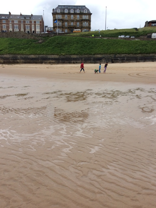 Children play in front of Grand Hotel, Tynemouth (requisite VW campervan in background)