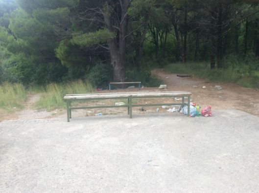 Want to catch your breath at the top of the hill and sit in some garbage?