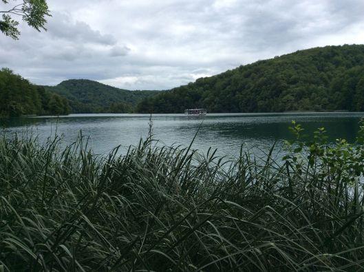 Shuttle boat on lake, Plitvice Jezera