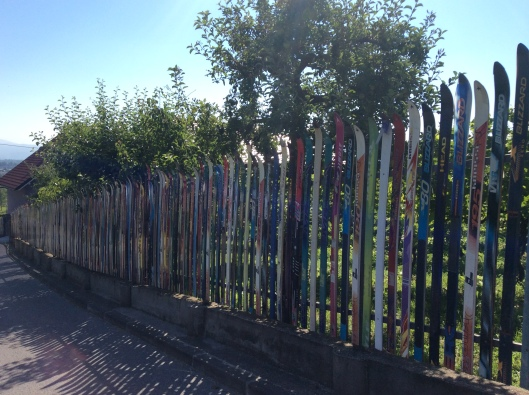 Ski fence, Samobor (Croatia).  The fence goes on and on and on.  In fact, it surrounds a small vineyard!