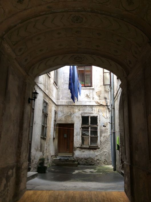 Doorway with laundry hanging, Upper City, Zagreb