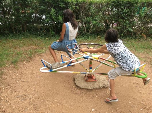 Venice and I on old playground equipment, Montenegro