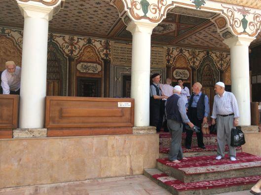 Men leaving the mosque