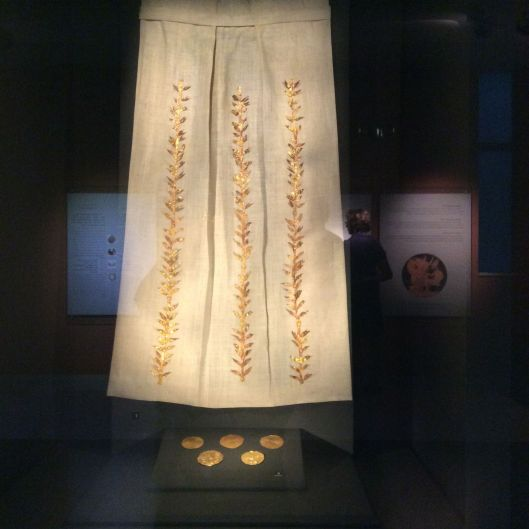 Example of how a dress would have been decorated with gold