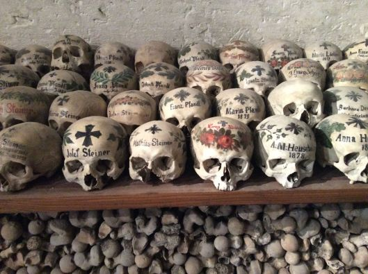 Painted skulls in the Bone House