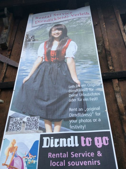 Poster in Hallstatt, Austria marketed to Chinese tourists