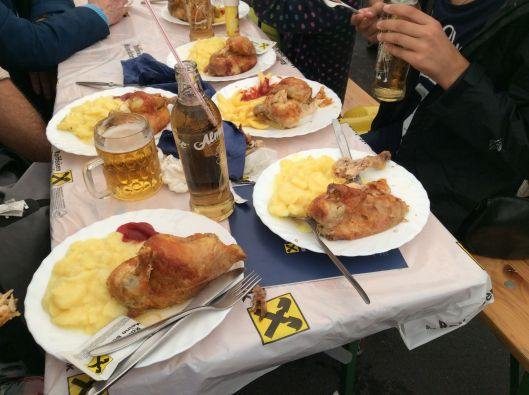 A feast on Raffeisenbank tablecloth.