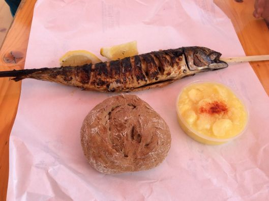 Steckerlfisch (mackerel) with potato salad and, of course, bun.