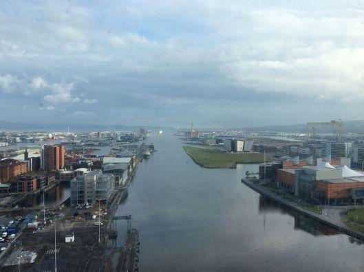 View from our apartment, Belfast.  The Titanic was built and launched right here.