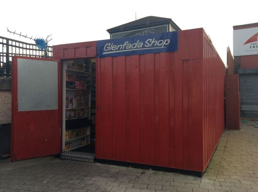 Small shop in a shipping container outside the FreeDerry Museum