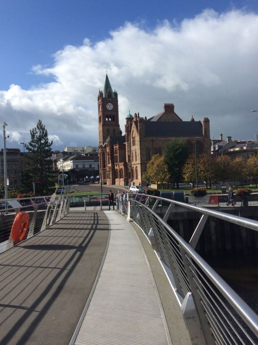 View of Guild Hall from Peace Bridge.  Guild Hall is the town hall and was bombed, then restored.