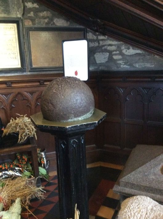 The cannonball that was lobbed into town demanding surrender.