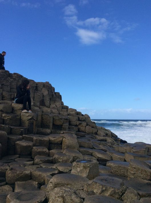 Paris admires the Giant's Causeway, Northern Ireland.  She can now spell her last name and do a whole bunch of other things!