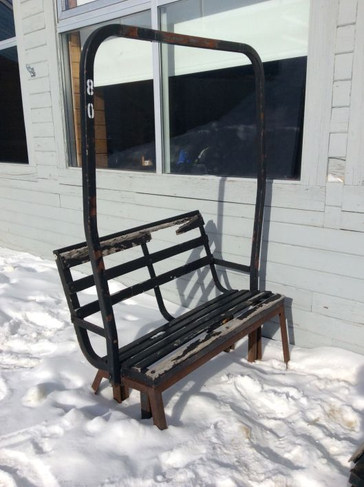 Old lift chair converted to a bench.  I have wanted one of these since my first trip to Sugarloaf but even I won't try to stick this in our van.