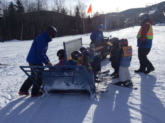 Little ones will get pulled up the hill by the Moose Caboose.