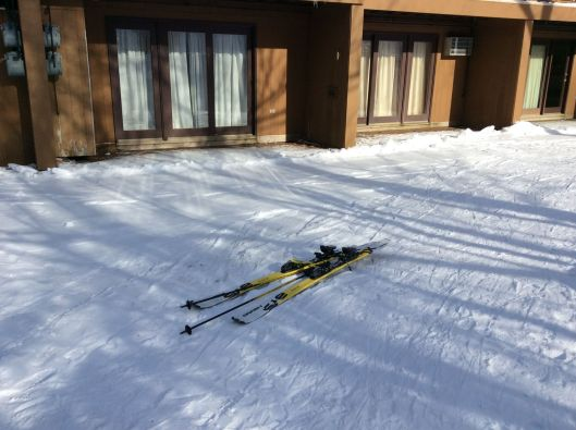Some people leave their skis right in the middle of the path.  Surprisingly, not Onlyboy.