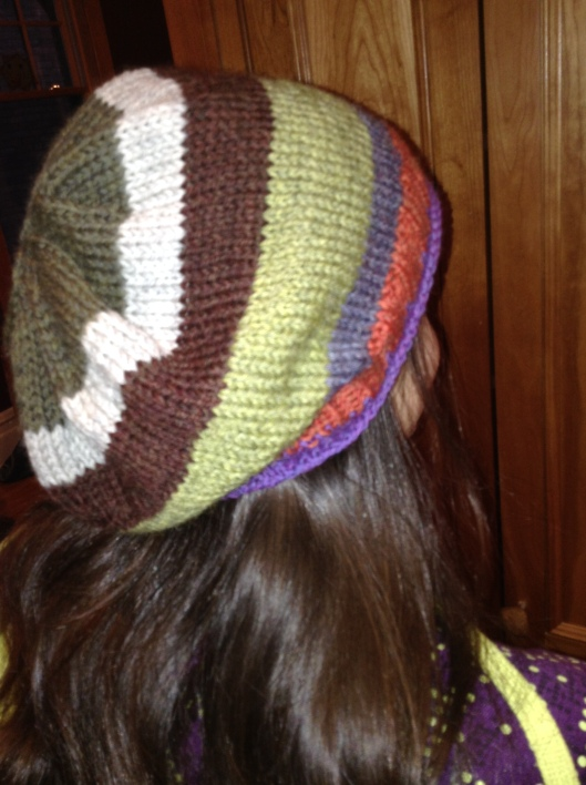 A slouchy, stripy hat in Cascades 220 wool.