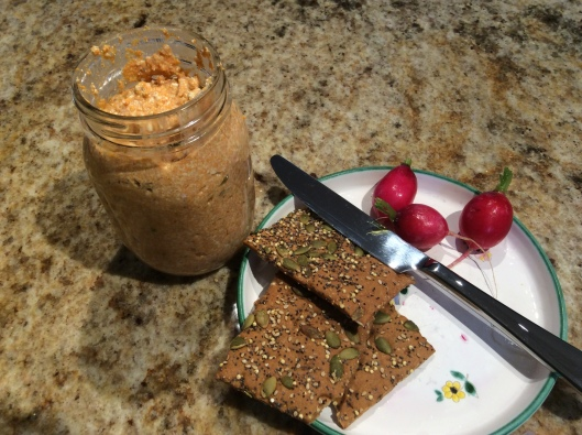 Seeded crackers with radishes and Liptauer