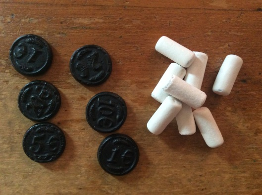 Black liquorice euros and school chalk - a well balanced meal.  Visually well balanced, at least.