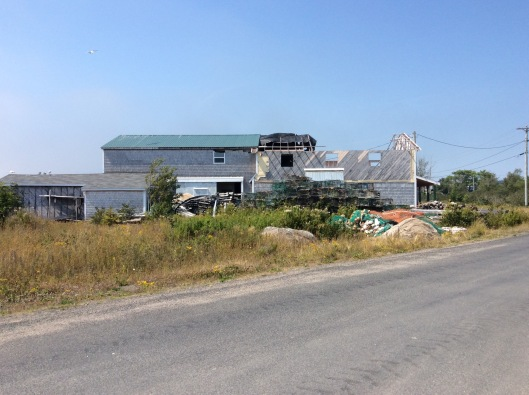 A half-built structure - one of the only place to buy fresh fish on Grand Manan (Sunrise Fish)